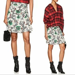 Isabel Marant Cereny Floral Ruched Ruffle Skirt